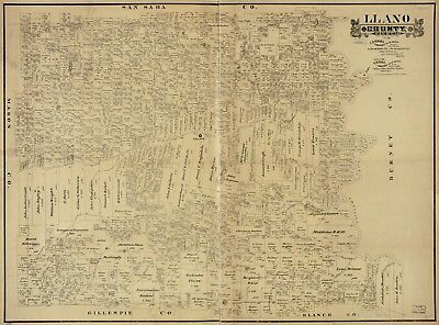 A4 Reprint of American Cities Towns States Map Llano County Texas