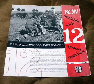 David Brown tractor original sales brochure leaflet 12-speed 880 Implematic