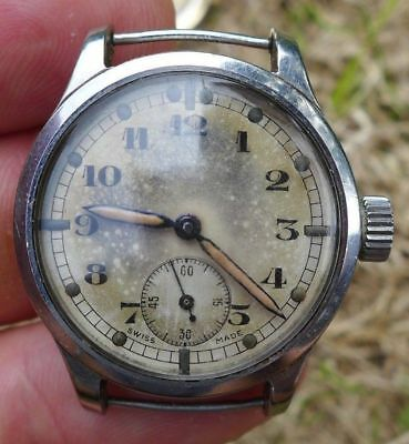 VINTAGE 1940s MILITARY ISSUED A RARE ATP STAINLESS STEEL ARMY PILOTS WRISTWATCH