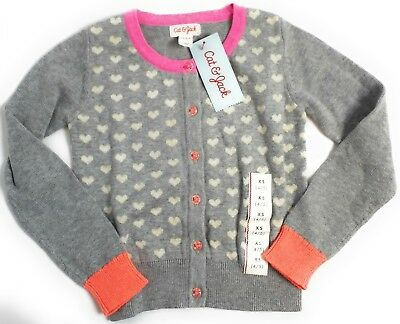 XS Cat & Jack Girls Heart Grey Button Down Sweater Long Sleeve Cute New