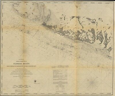 A4 Reprint of Shipping Coastal And Seas Map Florida Reefs