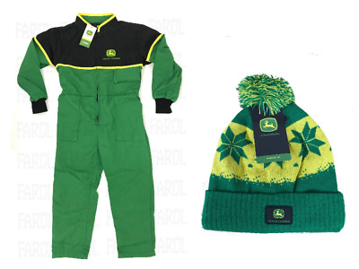 John Deere Kids Overalls And Beanie Hat Children's Overall Gift Package