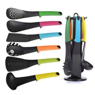 6PC Best Quality Nylon Kitchen Tool Utensil Set With Rotating Stand Multicolor