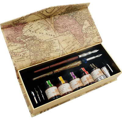 GC Calligraphy Pen Set- Wood Dip Pen- Glass Dip Pen-Five Bottle Ink-Seven Nibs