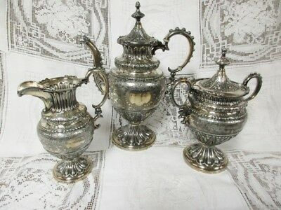 *sale* 19Th Century Victorian 3 Pc Gothic Influenced Silver Plated Tea Service