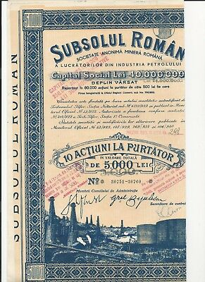 Romania. Oil Industry Bond. 10X500 (Option On 500) Lei, 1940. With All Coupons.