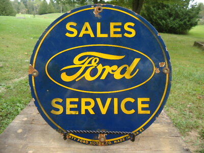 Old Used 1962 Ford Sales And Services Ford Motor Co. Porcelain Dealership Sign