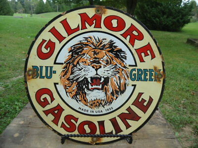 Dated 1935 Gilmore Gasoline Porcelain Gas Pump Sign  (Blue-Green)