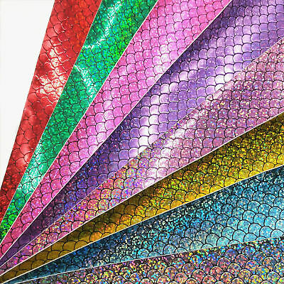 Holographic Mermaid Scale Fabric Sequin Faux Leather Leatherette DIY Bows Craft