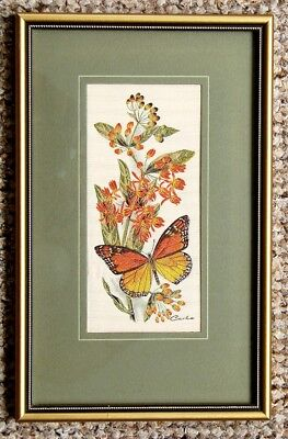 "Framed Beautiful Original  Cash Of Coventry  Woven On Silk   ""monarch Butterfly"""