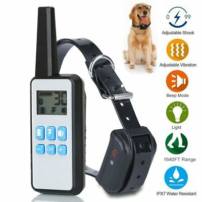 500M Remote Dog Shock Training Collar Rechargeable Waterproof LCD Display