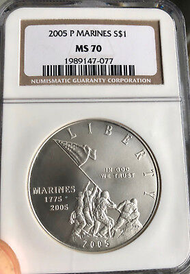 2005-P US Marines Silver Commemorative Dollar - NGC MS-70 - Mint State 70