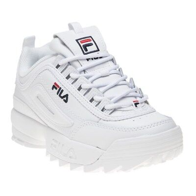 New Mens Fila White Disruptor II Premium Leather Trainers Chunky Lace Up