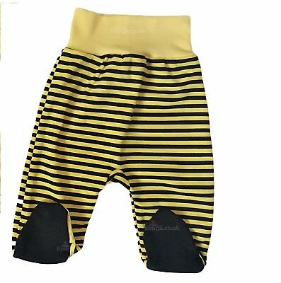 Baby Boys/Girls YELLOW Trousers with feet 100% Cotton Newborn/0-3/3-6 Months
