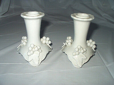Beautiful Antique Porcelain Candlestick Holders < 'Grapevines' > 4 Inch