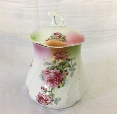 Antique Porcelain Cracker Jar Floral Decorated
