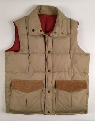 Mens Vtg Down Designs Tan Goose Down Fall Outdoor Hiking Cargo Puffer Vest Sz L