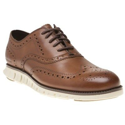 New Mens Cole Haan Tan Zerogrand Wing Ox Leather Shoes Brogue Lace Up