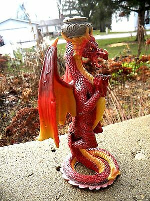 Amazing Red Fire Dragon Candle Holder Taper Candle Holder Dragons Fantasy! Wow!