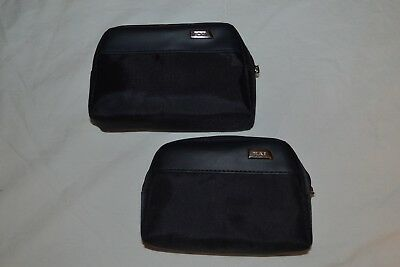Lot of 2 Delta Airlines Tumi Amenities Pouches, Soft, Dark Blue, Empty