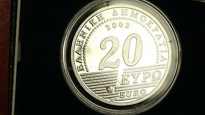 Greece 20€ 2003 Silver Proof with Box and Certificate 75 YEARS  BANK OF GREECE