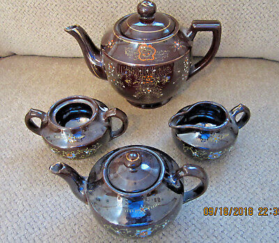 Vintage Japan Redware Brown Betty gold trim 6 piece tea pot set collectible