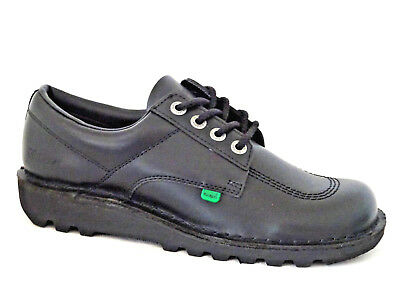 Kickers Kick Lo Core Mens Black Leather Lace Up Shoes Size 45 Uk 10.5
