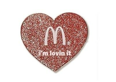 McDonalds Cute Lapel Pin Valentine's Day Glitter Heart - Brand New in Package