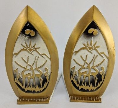 """Bookends Mid Century Modern MCM Deer Metal 6-1/2"""" Tall Gold & White S-15 UNIQUE!"""