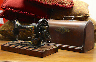 Portable Singer Sewing Machine and Original Case Victorian Hand Cranked