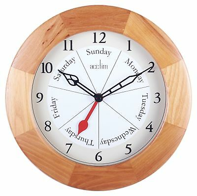 Acctim Polima Day and Time Dial Wood Case Wall Clock 24671