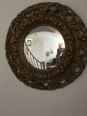 Antique French Art Deco convex wall mirror gold gilt carved oar frame 1920s