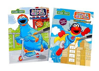 Set of 4 Sesame Street Paint with Water Coloring Book Featuring Elmo ...