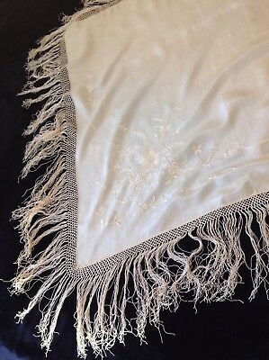 Antique Hand Embroidered Chinese Cream Silk Small Shawl Scarf
