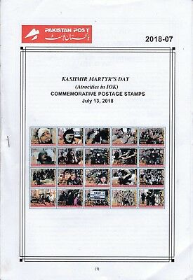 Pakistan Fdc 2018 First Day Brochure & Stamps Kashmir Martyr Day Atrocities