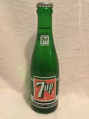 FULL 7oz SEVEN-UP ACL SODA BOTTLE HICKORY, N.C. 7UP
