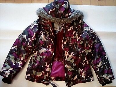 BY LONDON FOG, girls winter jacket, medium-sized, purple inside and military out