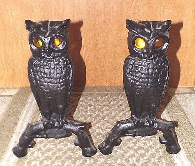 Vintage Cast Iron Owl Andirons Fireplace Glass Amber Eyes Ornate Fire Dogs NICE