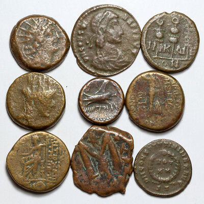 TOP Lot of 9 Ancient Greek Roman & Byzantine Bronze coins