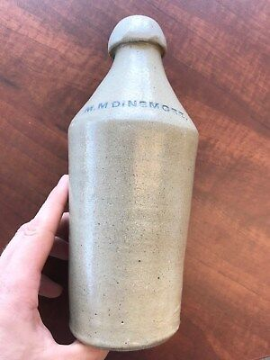 M.M. Dinsmore Anson Maine ME Pottery Stoneware Beer Soda Bottle 1860's