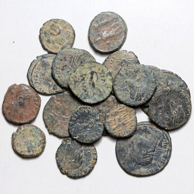 Top Lot of 18 Roman Bronze coins AE 3 & 4 Sizes