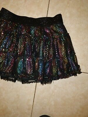 Girls Tiered Tutu Skirt by Justice Sparkle Lined & Mini Shorts Under Girls Sz 18