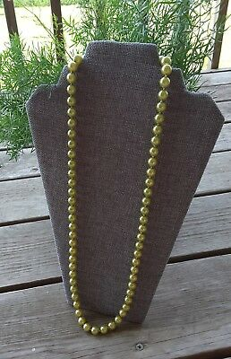 Vintage FAUX PEARL GREEN NECKLACE Fancy Clasp 30 Inches Unsigned Beautiful Color