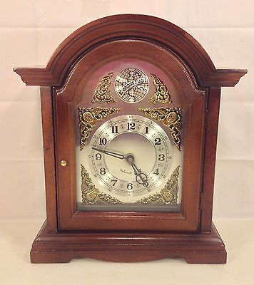 Vintage Bracket Clock w/ Quartz Movement Westminster Chimes Runs Strikes