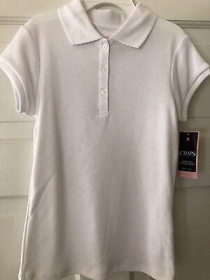 NWT- Chaps Girls Size S ( 7 ) Short Sleeve Polo Shirt, White, School Approved