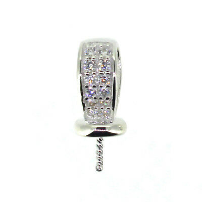925 Sterling Silver Peg Bail Cap with CZ Stones for Half-Drilled Pearl (1 piece)