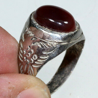 Intact Wearable Billon Silver Medieval Decorated Ring with nice glass stone