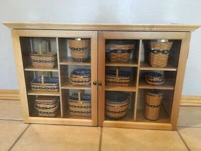 Longberger Cabinet With 10 Jw Collection Miniature Baskets Plus Extras