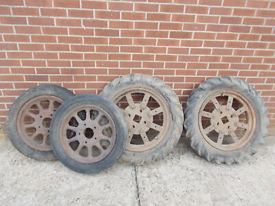 4 cast iron and steel   wheels shepherd hut old  tractor antique vintage -