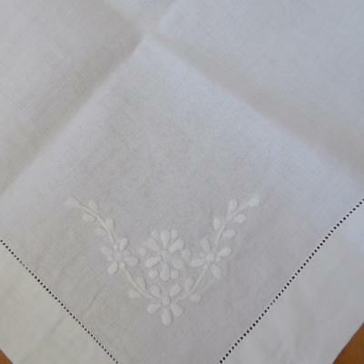 Irish Linen Table Square, Table Topper, Tablecloth Hand Embroidered Whitework